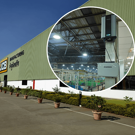 JCB manufacturing plant at Pune monitors the plant air quality using Oizom Particulate Sensor to suppress dust generation.