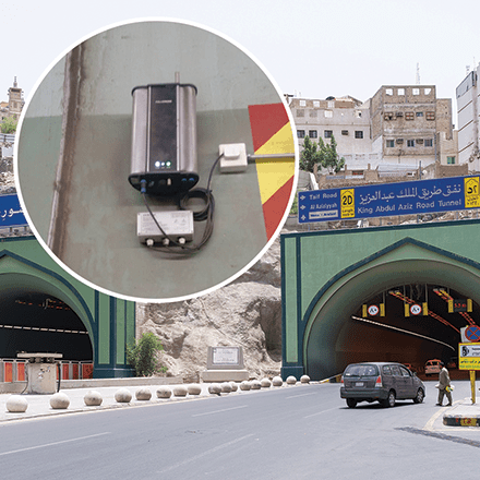 Abdul Aziz Tunnel monitors the vehicular emission to reduce traffic pollution using Polludrone Outdoor Air Pollution Sensor.