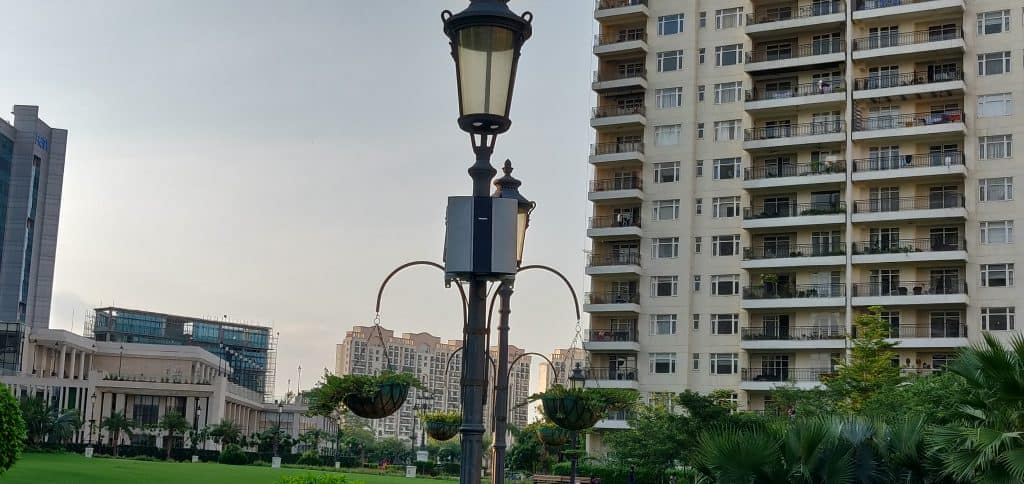 Low-cost air quality monitor installed for urban air quality monitoring.
