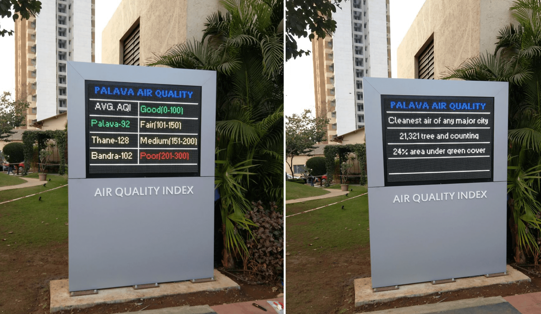 The environmental data of Air Monitoring System is displayed across the Palava city for environmental data awareness.