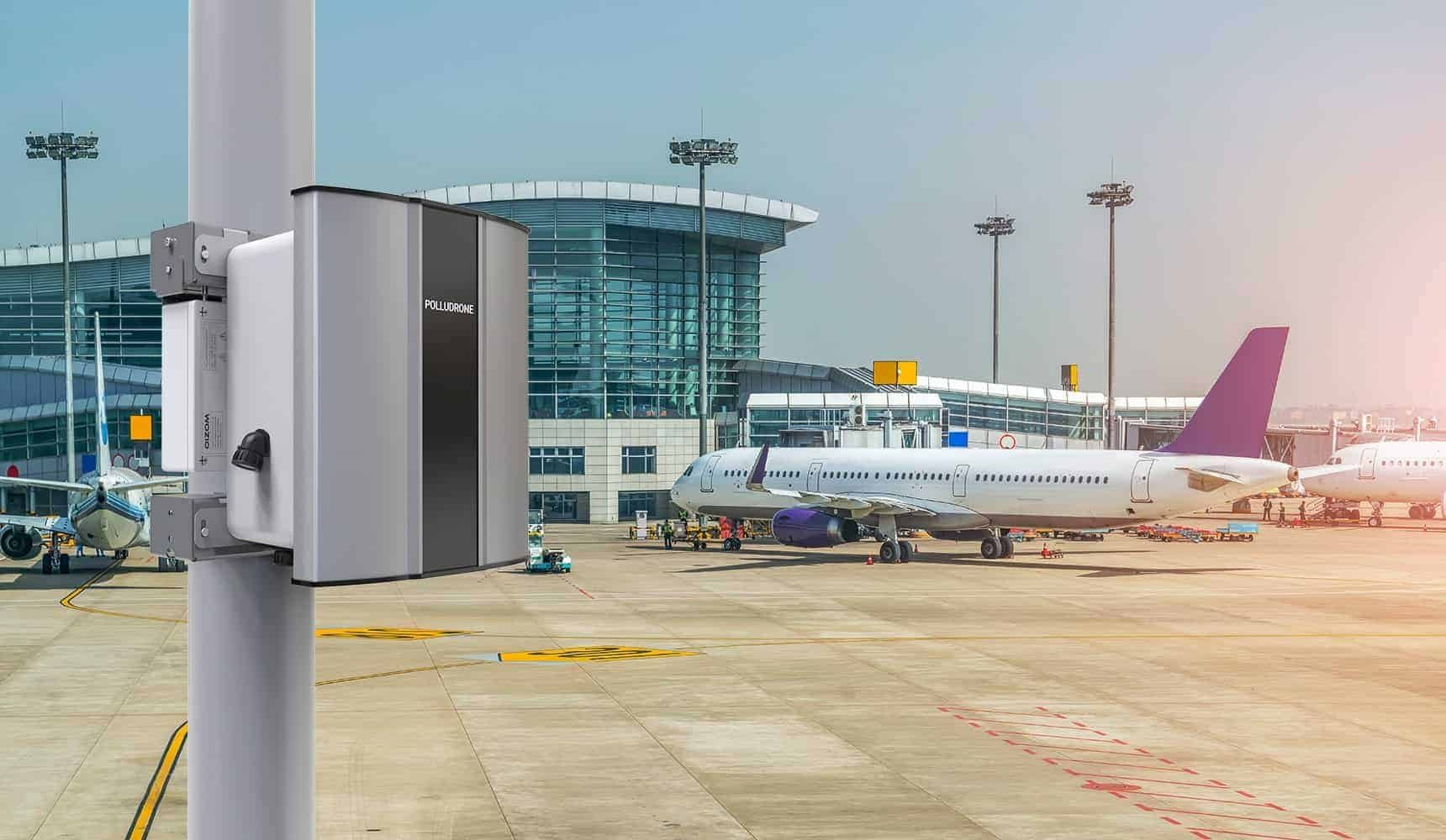 Polludrone Air Pollution Monitoring System can monitor airport pollution to aware travellers for taking precautionary actions.
